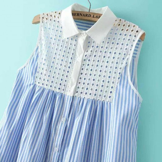 Sky Blue Striped Lapel Sundress