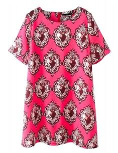 Heart Pattern Pink Tunic Dress