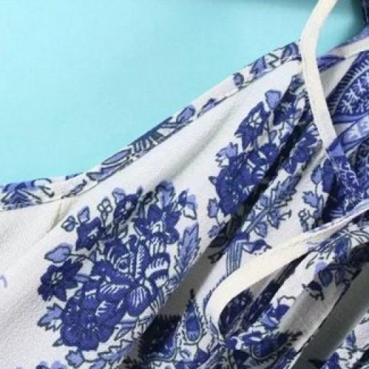 Off Shoulder Porcelain Print Tunic