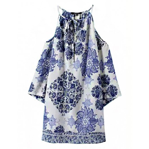 Off Shoulder Porcelain Print Tunic