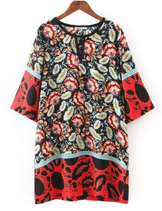 Multi-Colored Floral Printed Dress