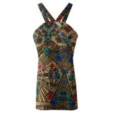 Retro Floral Print Straps Dress