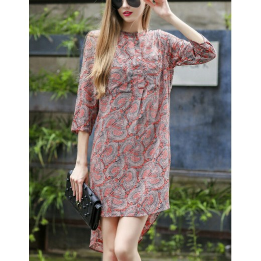 Floral Print High-Low Tunic Dress
