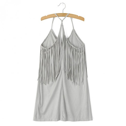 Faux Suede Tassel Grey Mini Dress