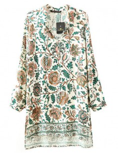 Leaves and Flowers Print Vintage Tunic