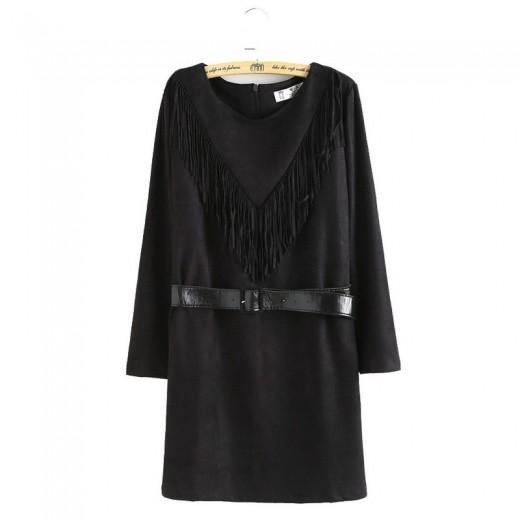 Vintage Tassel Black Mini Dress