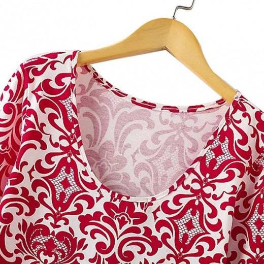 Printed Retro Red Bodycon Dress