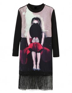 Soft Fringed Women's Picture Dress