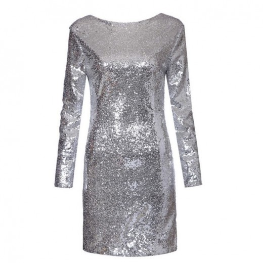 Sequined Backless Club Mini Dress