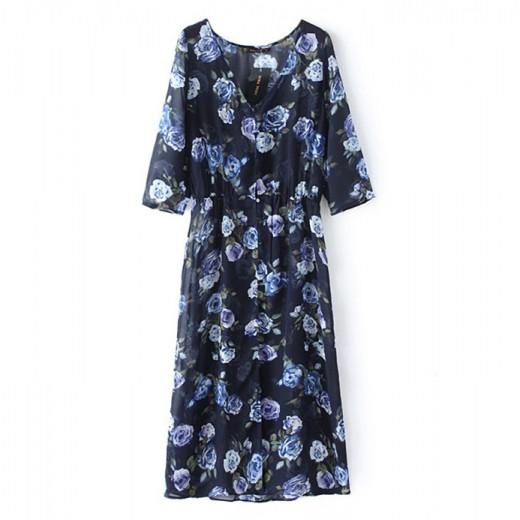 Roses Print Long Transparent Dress