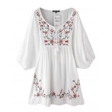 Embroidered White Boho Dress
