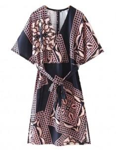 Vintage Pattern Midi Dress