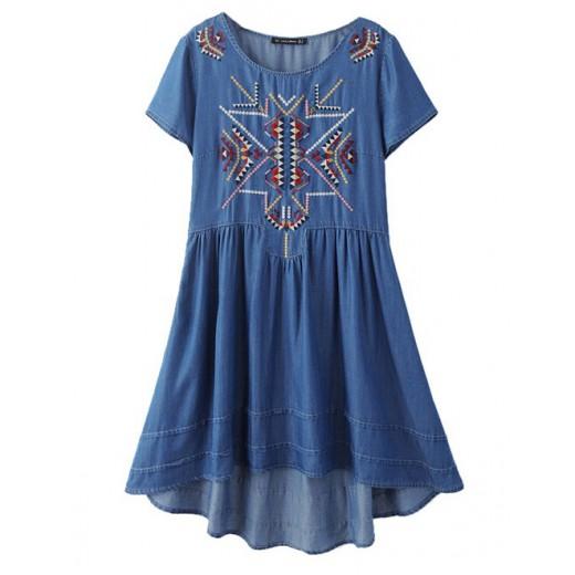 High-Low Embroidered Denim Dress