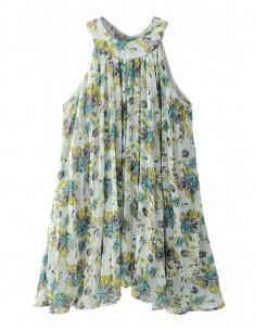 Pleated Floral Print Halter Dress