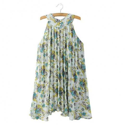 Pleated Floral Print Halter Dress