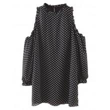 Cold Shoulder Dots Mini Dress
