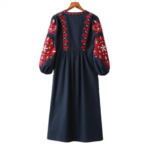 'Iris' Embroidered Retro Dress