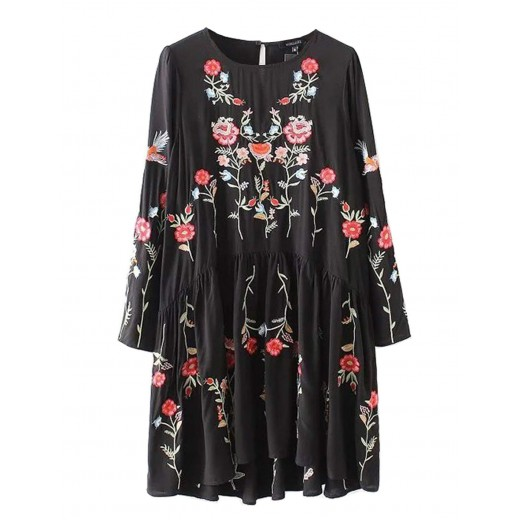 'Irma' Bohemian Embroidered Floral Dress