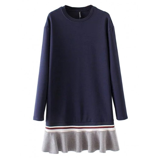 Pullover Navy Dress with Ruffle