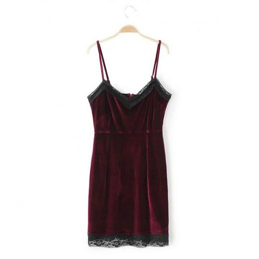 Spaghetti Straps Velvet Mini Dress