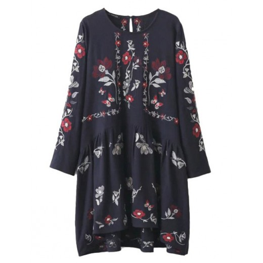 Floral Embroidered Navy Dress