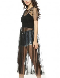 'Daria' Transparent Black Mesh Dress