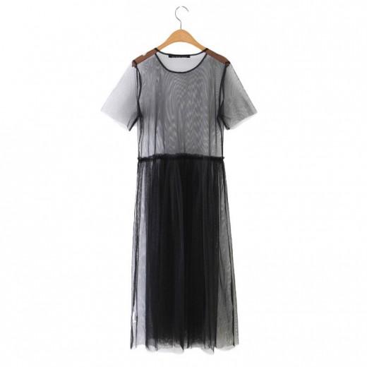 'Daria' Transparent Black Mesh Dress