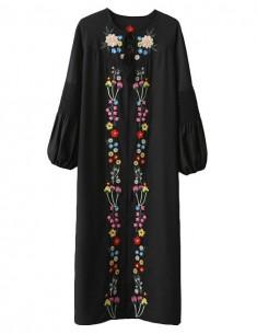 Jeanne Floral Embroidered Black Dress
