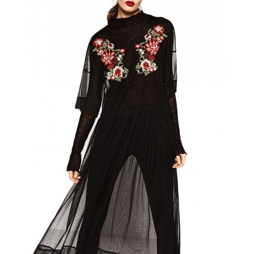 Transparent Black Mesh Dress