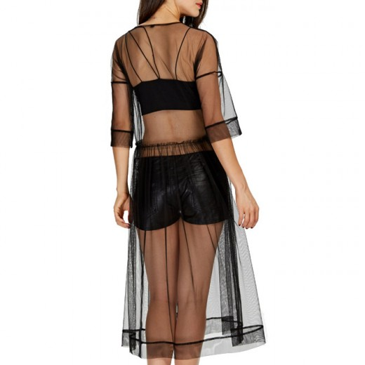 Transparent Black Mesh Dress