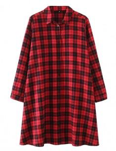 Oversized Plaid Shirt Dress