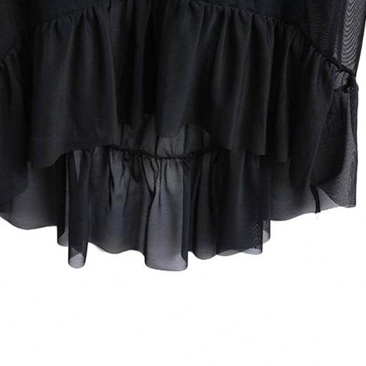 Transparent Mesh Ruffle Dress
