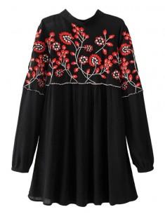 Floral Embroidered Black Dress