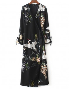 'Frida' Birds & Floral Wrap Maxi Dress