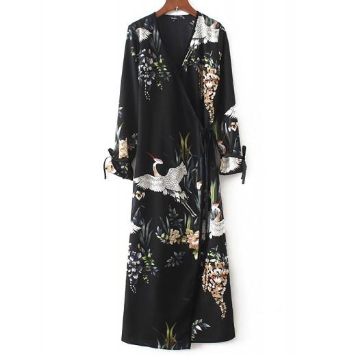 'Frida' Birds & Floral Wrap Maxi Dress