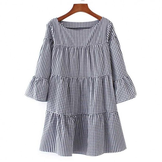 Oversized Checkered Ruffles Dress