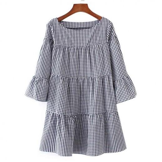 Oversized Checkered Ruffles Dress
