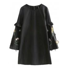 Embroidered Sleeve Black Tunic Dress