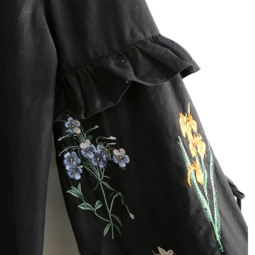 Embroidered Sleeve Black Tunic Dress