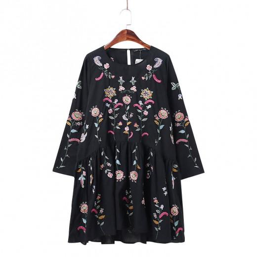'Alma' Floral Embroidered Boho Dress