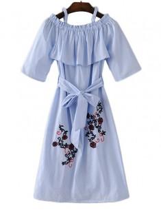 Off Shoulder Embroidered Midi Dress