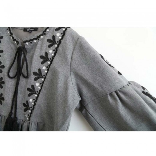 'Lydia' Vintage Grey Midi Dress