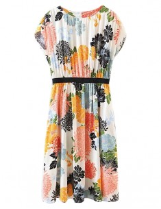 Elastic Waist Floral Midi Dress