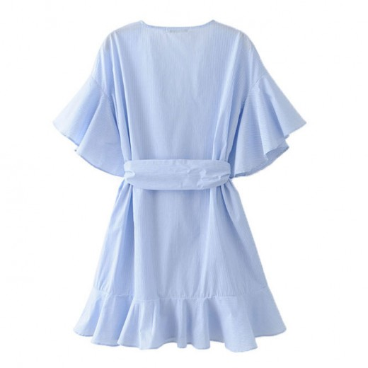 'Nell' Ruffles Oversized Blue Dress