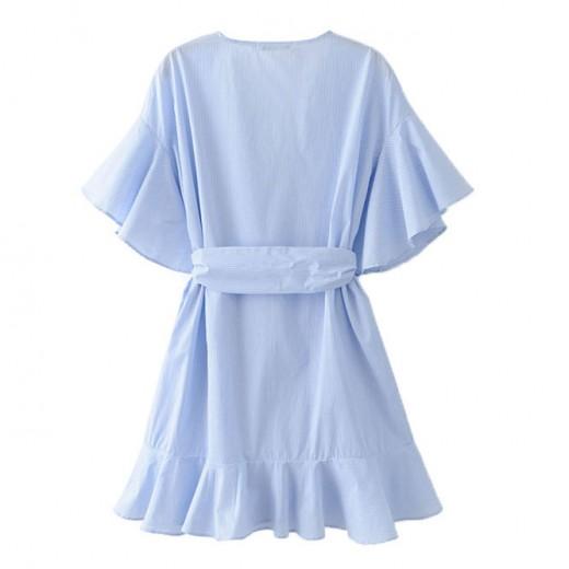 'Nell' Ruffles Oversized Blue Dress