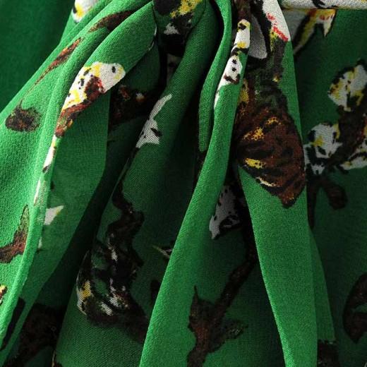 Cherry Blossom Print Green Dress