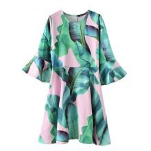 'Calla' Leaves Print Flowy Dress