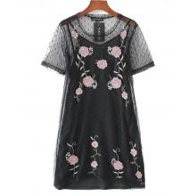 Floral Embroidered Transparent Dress