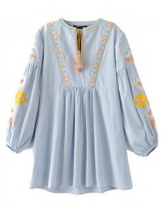 'Selena' Floral Embroidered Boho Tunic