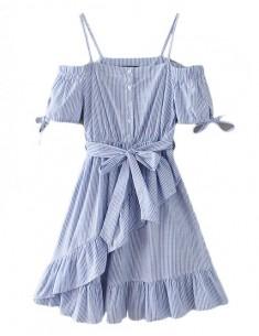 'Blanche' Off Shoulder Striped Dress